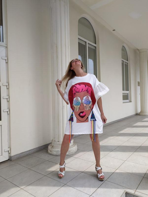 Платье ПопАрт серьги