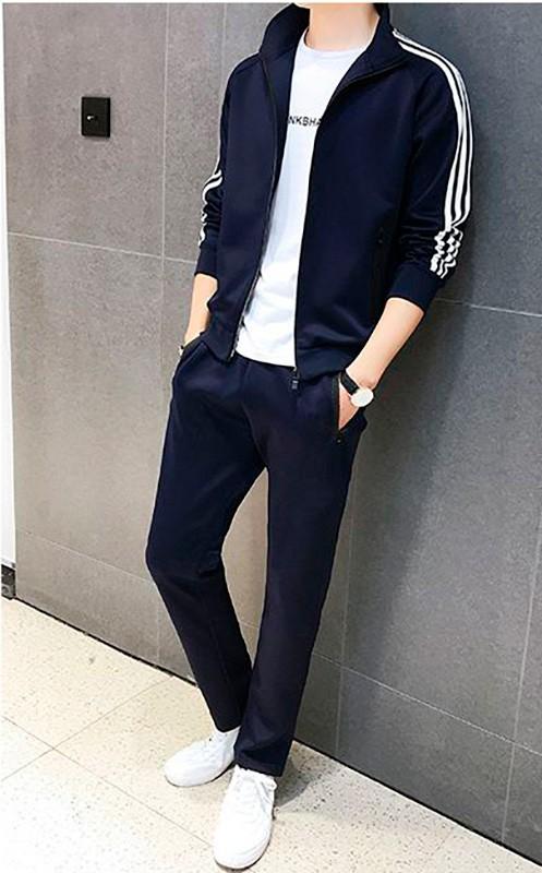 Спортивный костюм мужской темно-синий классика Спортивный костюм мужской темно-синий классика