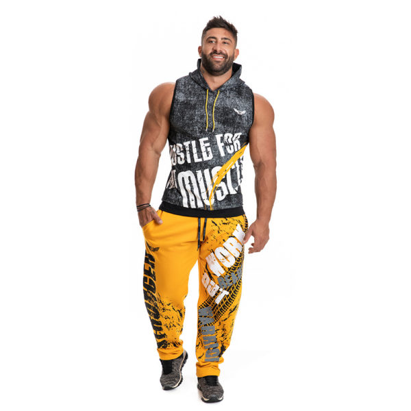 Спортивные штаны мужские желтые с принтом