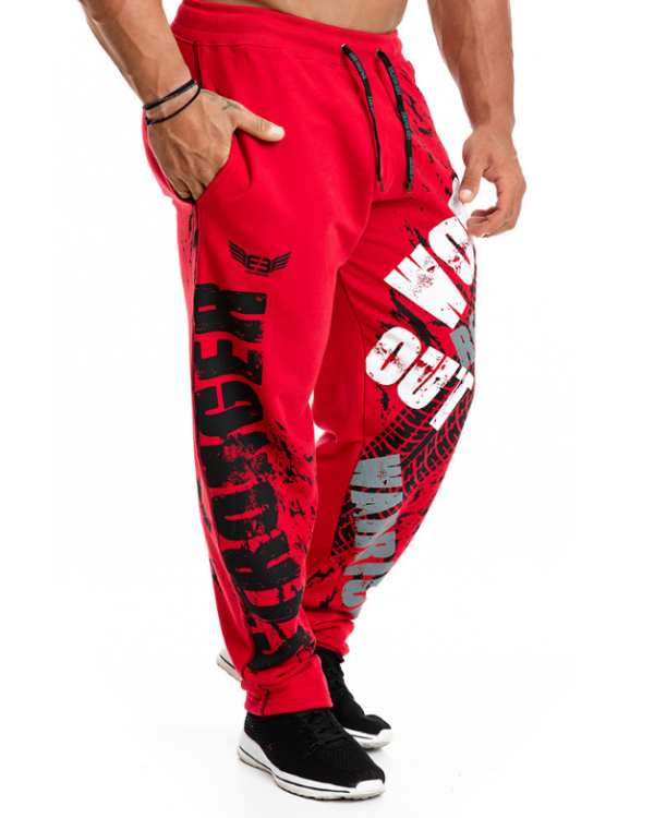 Спортивные штаны мужские красные с принтом