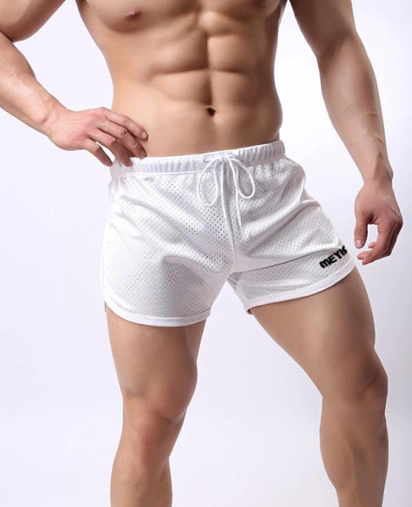 Шорты мужские белые легкие из сетки