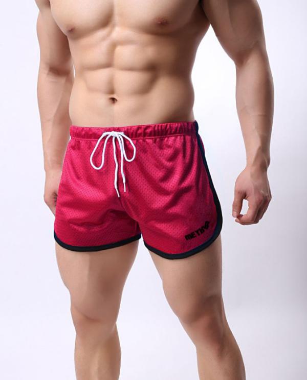 Шорты мужские красные легкие из сетки
