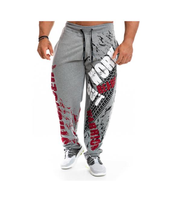 Спортивные штаны мужские серые с принтом